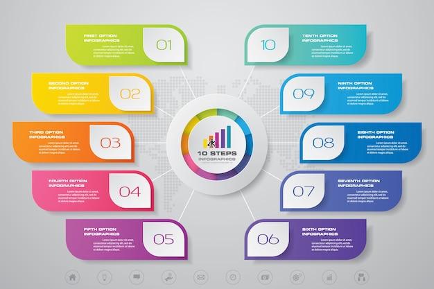 10 steps modern chart infographics elements. Premium Vector
