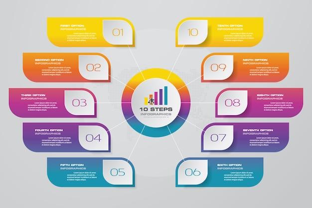 10 steps process chart infographics element. Premium Vector