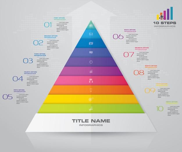 10 steps pyramid presentation chart eps10 vector premium download