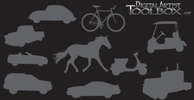 10 transportation silhouettes
