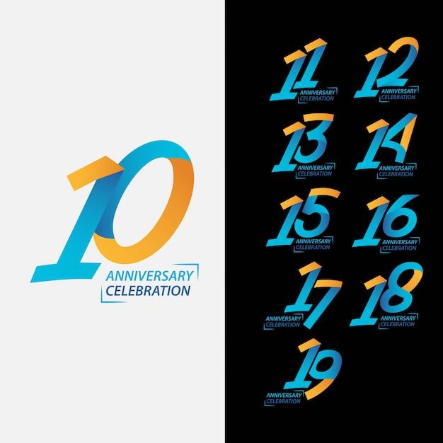 10 year anniversary celebration set Premium Vector