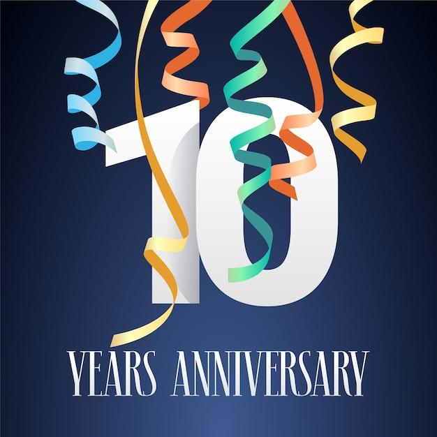 Празднование 10-летия юбилея. элемент дизайна шаблона с современным вырезом из бумаги Premium векторы