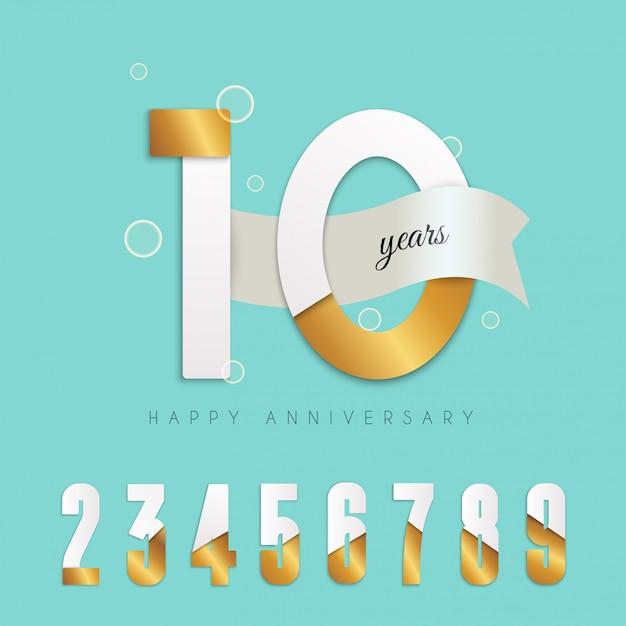 Эмблема 10 лет. набор чисел. Premium векторы