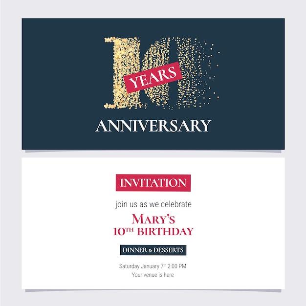 Приглашение на 10-летие, вечеринку в честь 10-летия или приглашение на ужин с основной копией Premium векторы