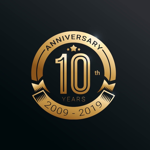 Premium Vector 10 Years Anniversary Logo With Gold Style