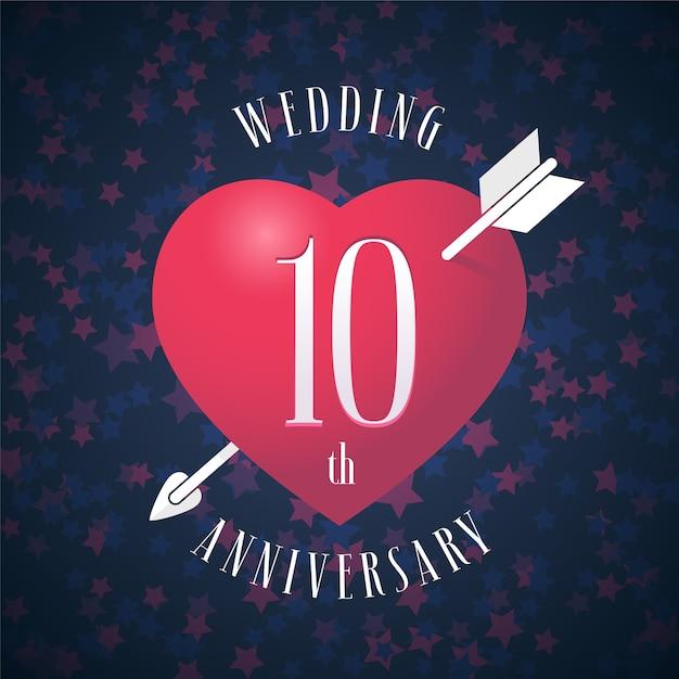 10 лет со дня свадьбы векторный логотип Premium векторы