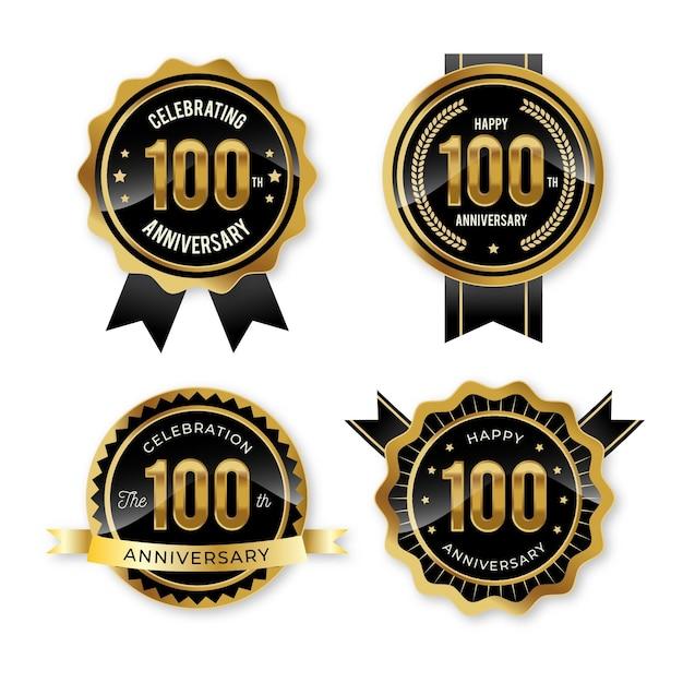 Collezione di badge per 100 anni Vettore gratuito
