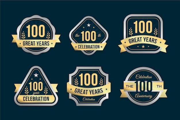 100% юбилейная коллекция значков Бесплатные векторы