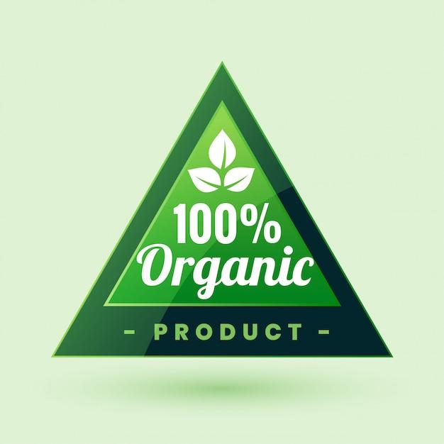 Etichetta verde di prodotti biologici certificata al 100% o design adesivo Vettore gratuito