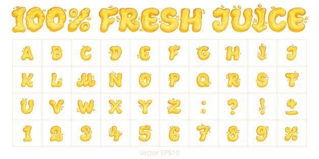 «100% свежий сок». оригинальный векторный шрифт. мультфильм английский алфавит. набор букв, цифр и знаков препинания. оранжевые и желтые символы с жидкими формами. Premium векторы
