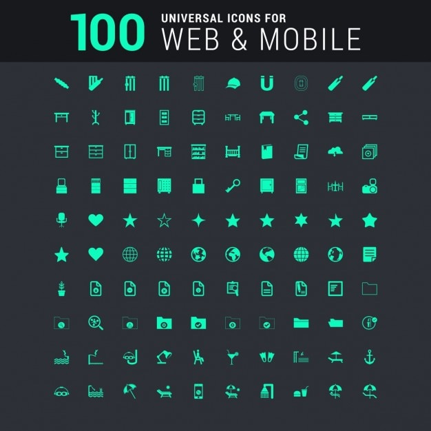 100 green universal icon set Free Vector