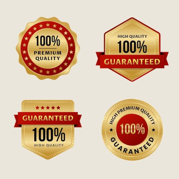 100% guarantee label collection Premium Vector