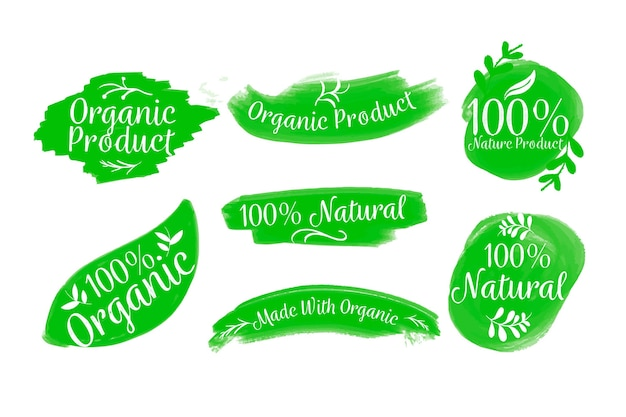 100% natural badge collection Free Vector