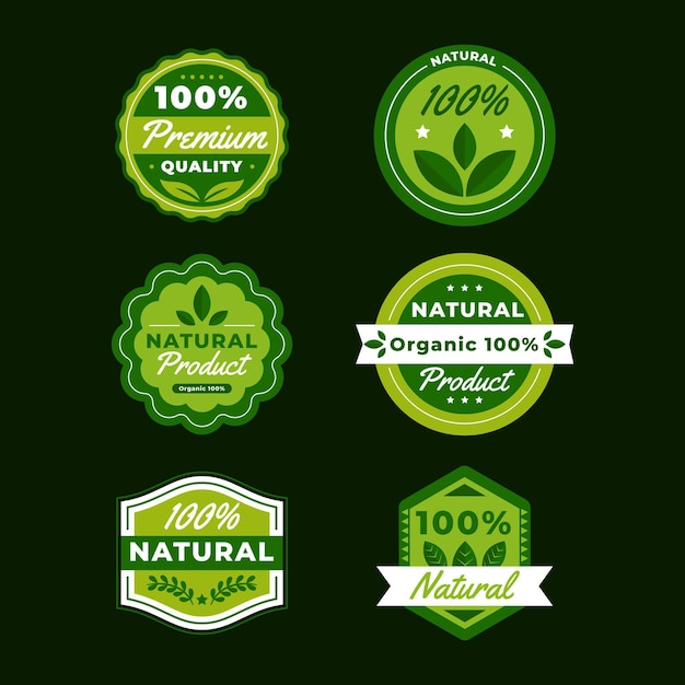 100% натуральная коллекция значков Premium векторы