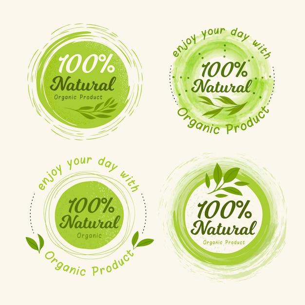 100% натуральная коллекция значков / этикеток Бесплатные векторы