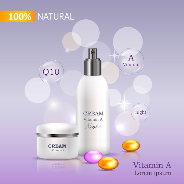 100% natural cream with vitamin c bank and spray Premium Vector