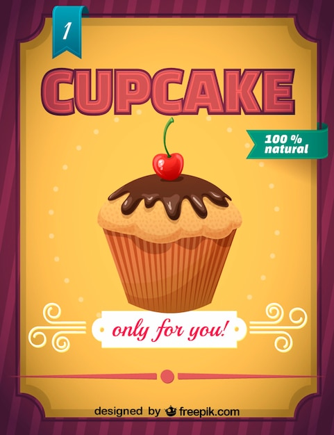 100% natural cupcake sign Free Vector