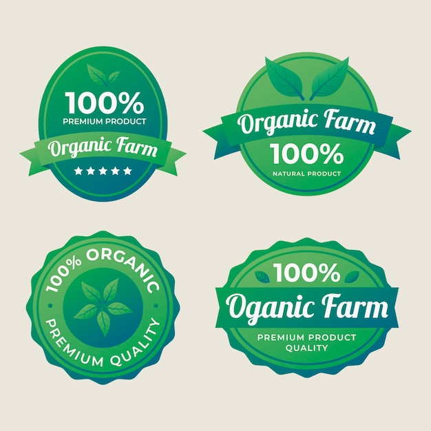 100% natural label collection Free Vector