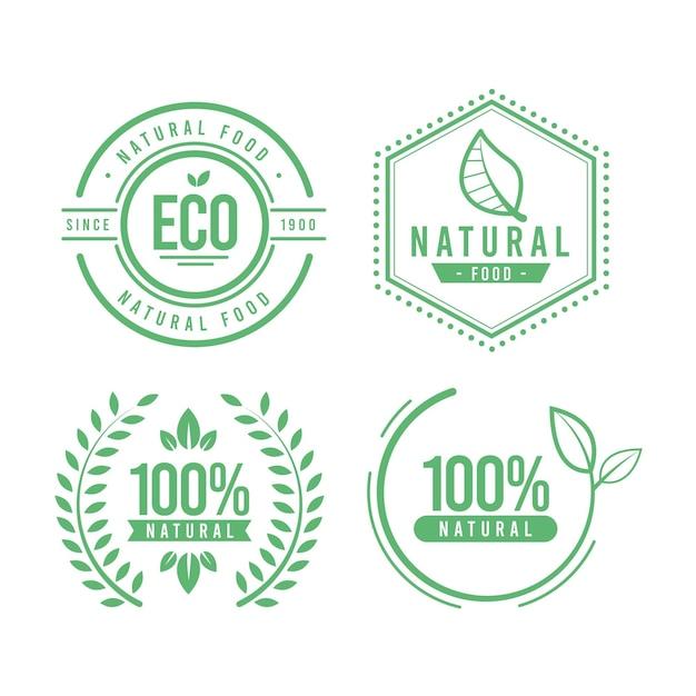100% натуральная этикетка Бесплатные векторы