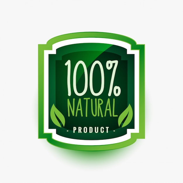 100% natural organic product green label or sticker design Free Vector