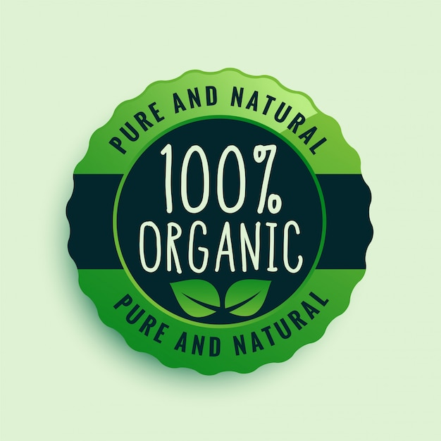100% organic food certified label Free Vector