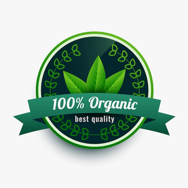 100% organic food label sticker with leaves Free Vector