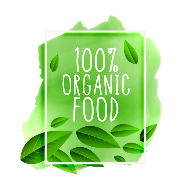 100% organic food lettering Free Vector