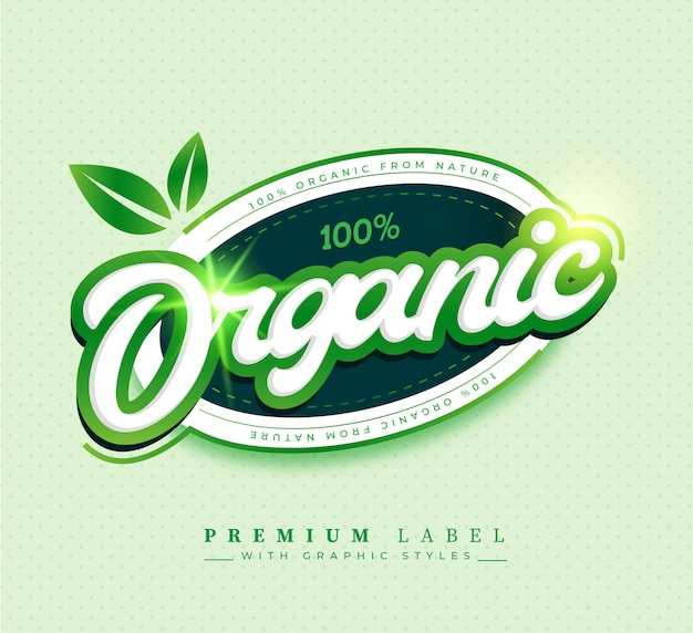 100% organic label sticker badge Free Vector