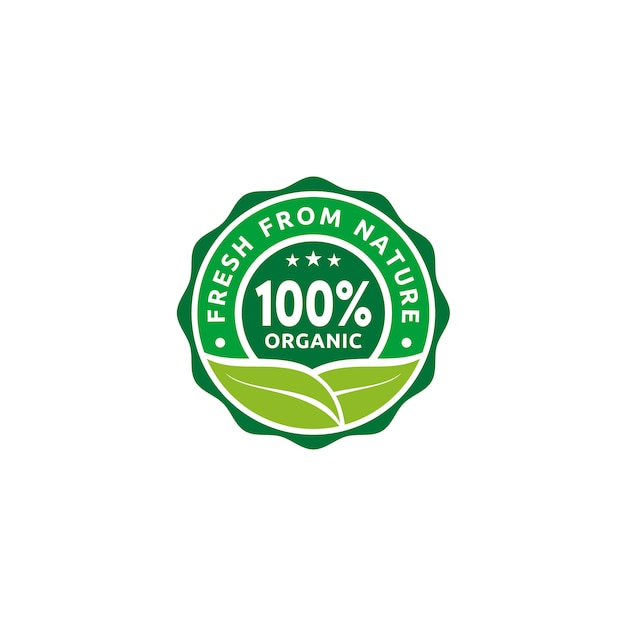 100% organic natural badge label seal sticker logo Premium Vector