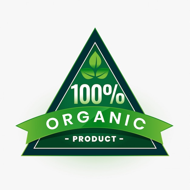 100% органический продукт, зеленая этикетка или наклейка Бесплатные векторы