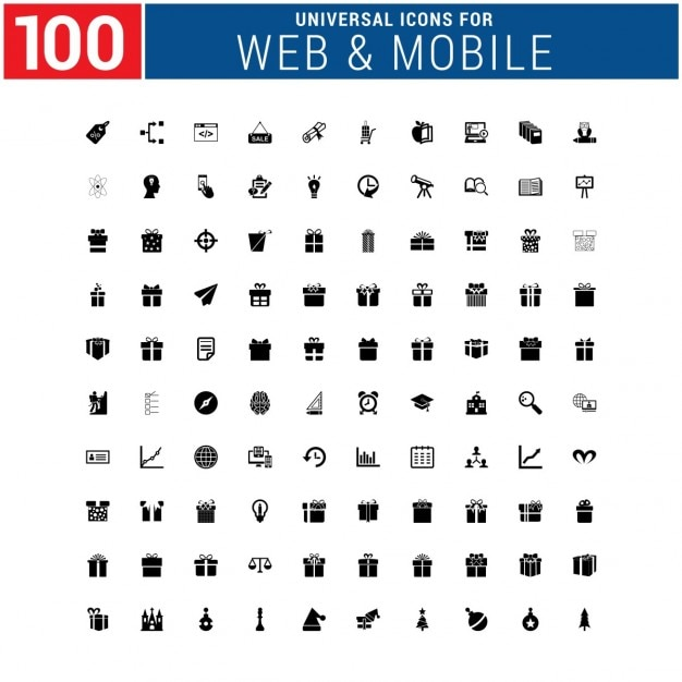 100 presents and infographic icons vector free download