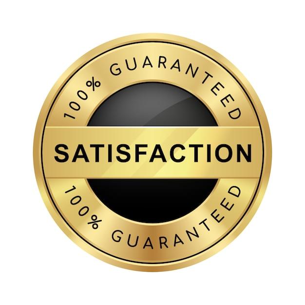 100%満足度保証のバッジブラックとゴールドの光沢のあるメタリックの高級ロゴ Premiumベクター
