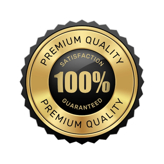 100%の満足を保証するプレミアム品質のバッジブラックとゴールドの光沢のあるメタリックの高級ヴィンテージロゴ Premiumベクター