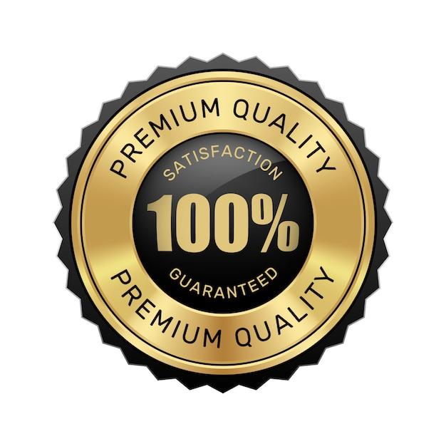 Premium Vector | 100% satisfaction guaranteed premium quality badge black  and gold glossy metallic luxury vintage logo