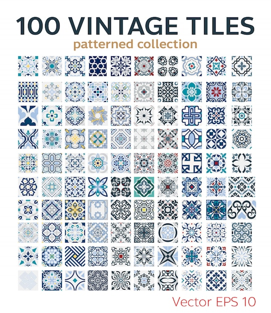 100 set vintage tiles patterns antique seamless design Premium Vector