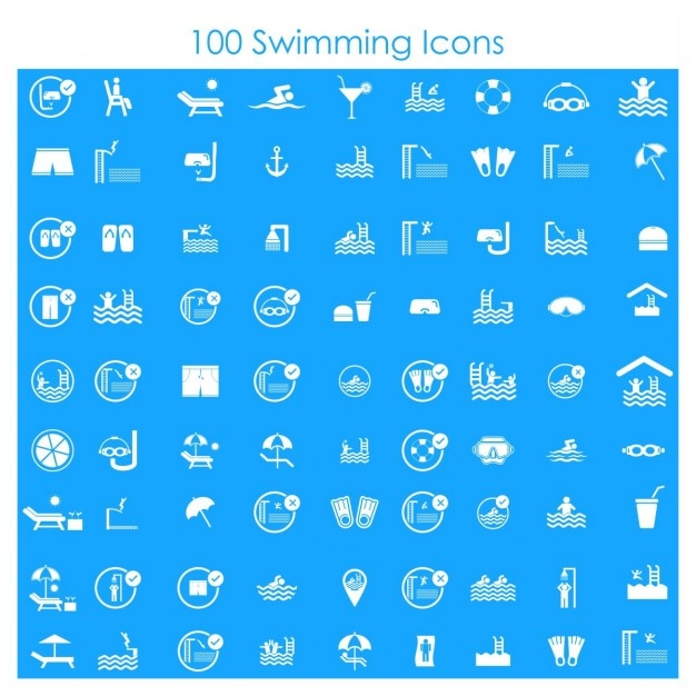 100 swimming icons Free Vector