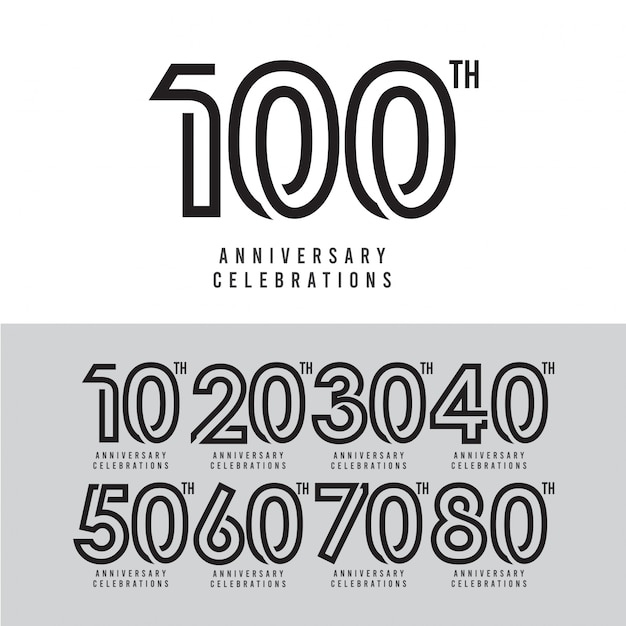 100 th anniversary celebration vector template design illustration Premium Vector