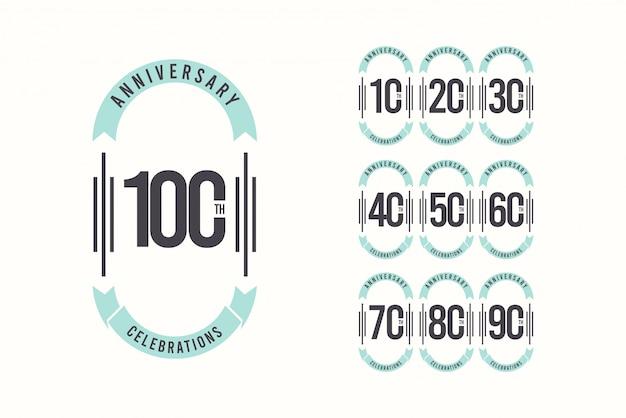 100周年記念エレガントなテンプレートデザインイラスト Premiumベクター