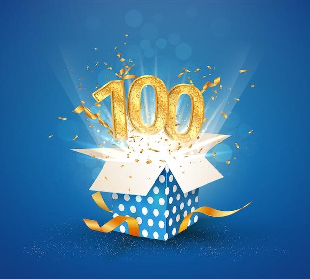 100-летие и открытая подарочная коробка со взрывами конфетти. изолированный элемент Premium векторы