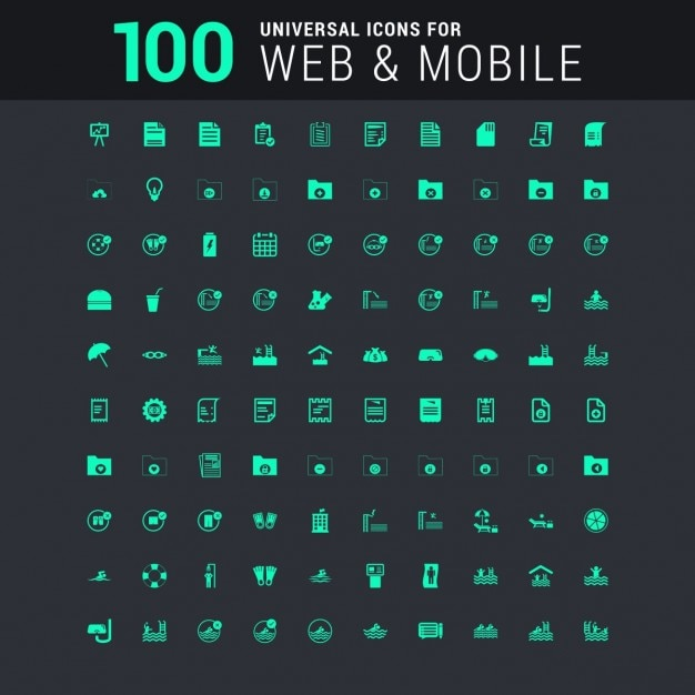 100 universal icon set for web and mobile in green Free Vector