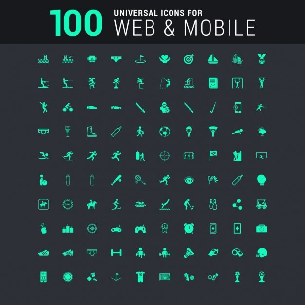100 universal icons set for website and mobile Free Vector