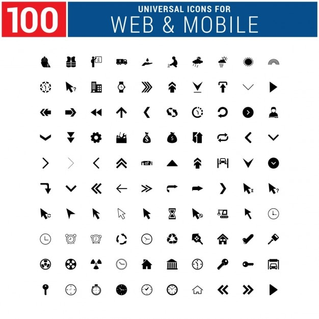 100 web icons pack Free Vector