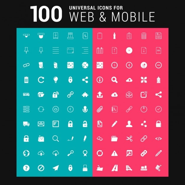 100 white icons Free Vector