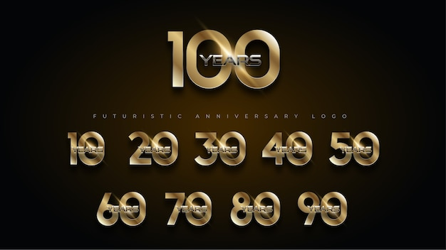 100 year luxury gold and silver anniversary number set logo Free Vector