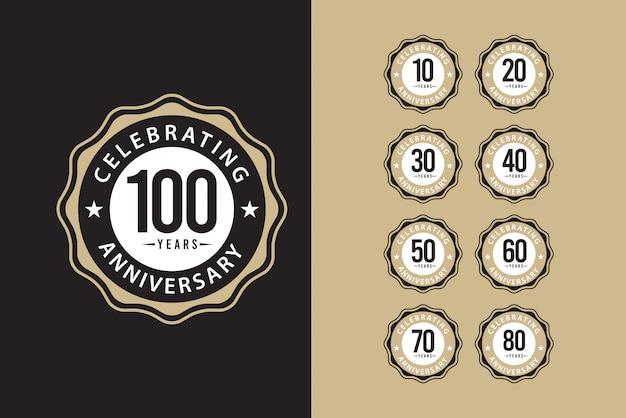 100年周年記念セットエレガントなテンプレートデザインイラスト Premiumベクター