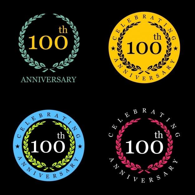 100 лет празднование лавровый венок Бесплатные векторы