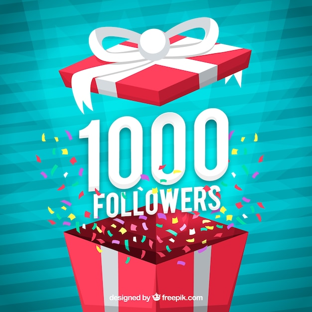 1000 followers background with present design Free Vector