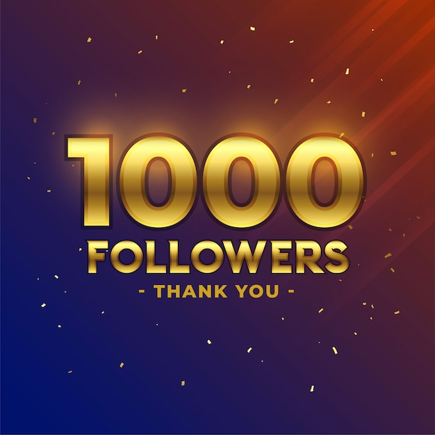 1000 followers celebration thank you banner Free Vector
