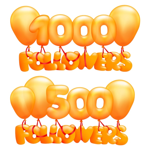 1000 followers concept card with letters flying on balloons. Premium Vector