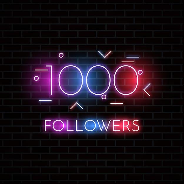 1000 followers design Premium Vector